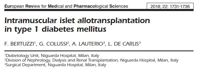 Intramuscular islet allotransplantation in type 1 diabetes mellitus.