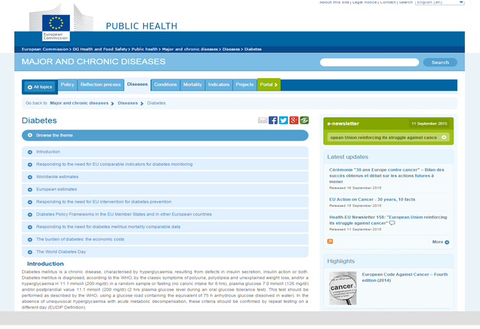 The European Commission (DG Health and Food Safety) website about Diabetes