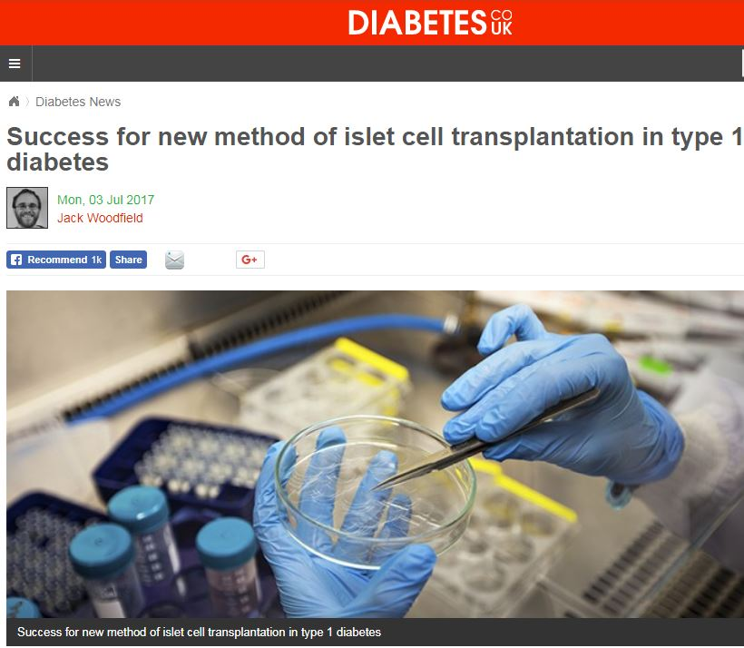Success for new method of islet cell transplantation in type 1 diabetes