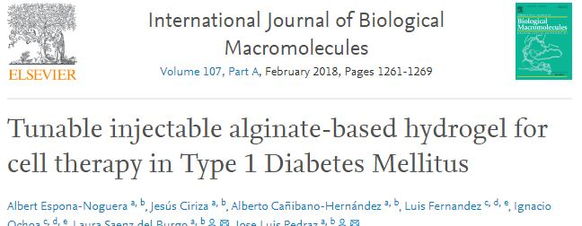 Tunable injectable alginate-based hydrogel for cell therapy in Type 1 Diabetes Mellitus