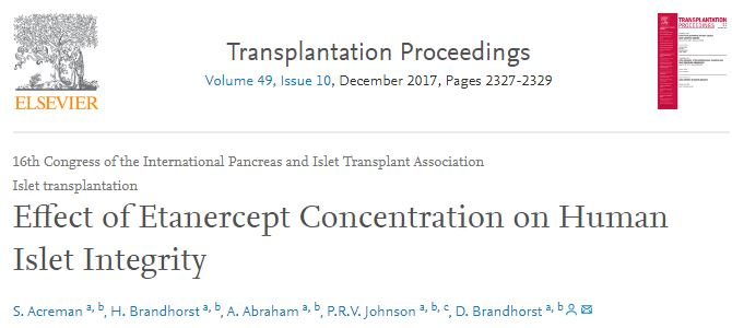 Effect of Etanercept Concentration on Human Islet Integrity